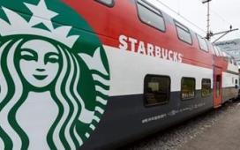 Eerste Starbucks in een trein