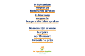 Actie Vegetarische Snackbar door poster VVD Rotterdam