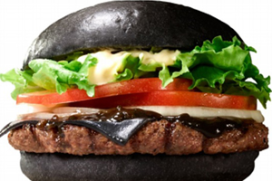 Pikzwarte hamburger op menu Burger King Japan